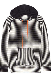 Geraldine hooded striped cotton-blend sweater
