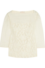 Tory Burch Lindsey floral-lace and striped tulle top