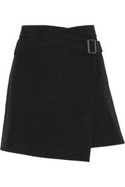 Ryder stretch-cotton twill wrap mini skirt