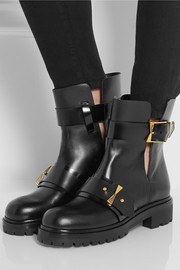 Bucked leather biker boots