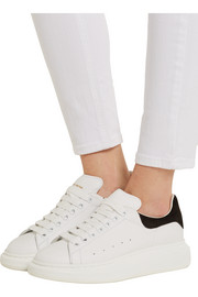 Alexander McQueen Suede and leather wedge sneakers