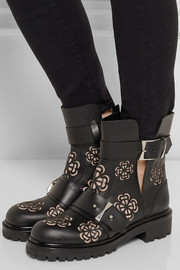 Alexander McQueen Laser-cut leather ankle boots
