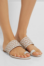 Alexander McQueen Laser-cut leather and suede sandals