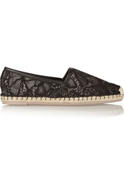 Lace and leather espadrilles