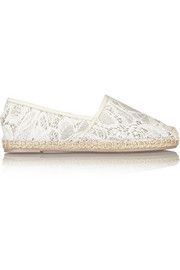 Valentino Lace and leather espadrilles