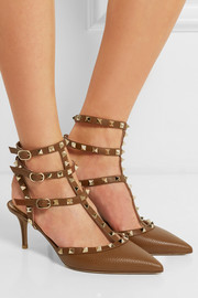 Rockstud textured-leather pumps