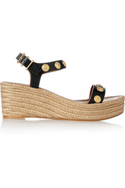 Studded textured-leather wedge espadrilles