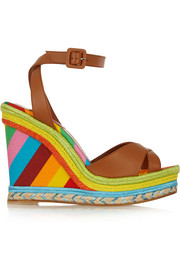 Printed leather, raffia and canvas wedge sandals