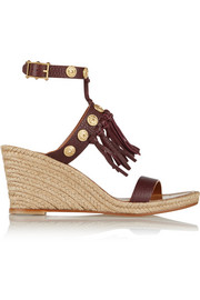 Embellished leather espadrille wedge sandals