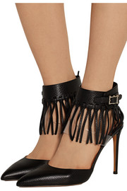 Fringed textured-leather and PVC pumps