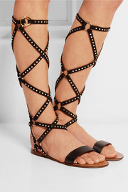 Teodora studded suede and leather sandals