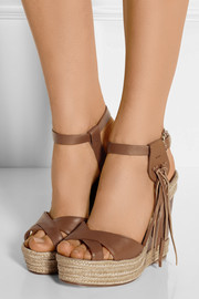 Valentino Fringed leather wedge espadrilles