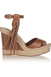 Fringed leather wedge espadrilles