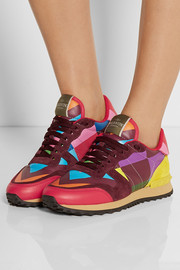 Valentino 1973 Rockrunner suede-paneled printed leather sneakers