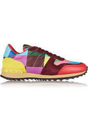 1973 Rockrunner suede-paneled printed leather sneakers