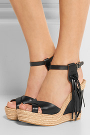Fringed leather espadrille wedge sandals