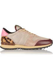 Valentino Mesh, suede, leather and calf hair sneakers