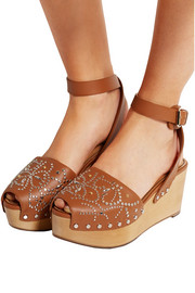 Valentino Studded leather wedge sandals