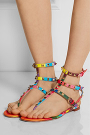 Valentino 1973 Rockstud printed leather sandals
