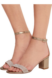 Valentino Crystal-embellished metallic leather sandals