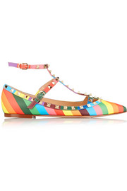 Valentino 1973 Rockstud printed leather point-toe flats