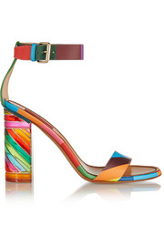Printed leather and Plexiglas® sandals