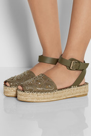Valentino Studded suede and leather espadrille sandals