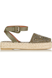 Studded suede and leather espadrille sandals