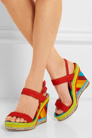 Nubuck, straw and canvas wedge sandals