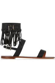 Valentino Fringed textured-leather sandals