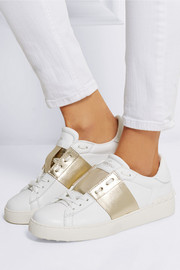 Metallic-paneled leather sneakers