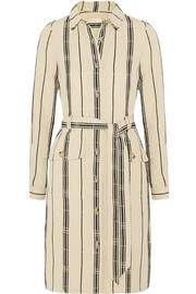 Tory Burch Emilynn striped slub silk-blend shirt dress
