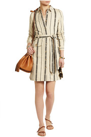 Emilynn striped slub silk-blend shirt dress