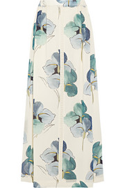 Kendra floral-print stretch silk-georgette maxi skirt