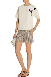 Tory Burch Henrietta appliquéd stretch-knit sweater
