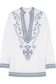 Tory embroidered cotton-voile tunic