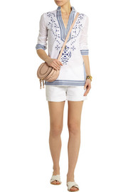 Tory Burch Tory embroidered cotton-voile tunic