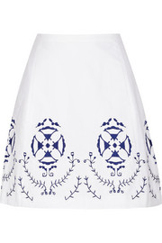 Cecile embroidered cotton-blend skirt