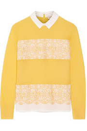 Tory Burch Edwina merino wool and stretch-cotton poplin sweater