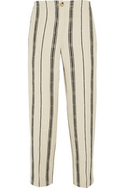 Tory Burch Carrie striped slub silk-blend straight-leg pants