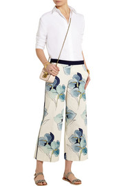Eliza stretch-cotton faille straight-leg pants