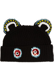Monkey Ears sequined merino wool beanie