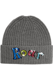 Roar sequined merino wool beanie