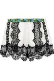 Anna Sui Jacquard-trimmed lace shorts