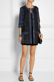 Anna Sui Lace-paneled cotton-blend chambray dress