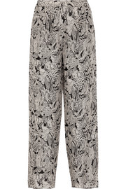 Anna Sui Printed silk-crepe wide-leg pants