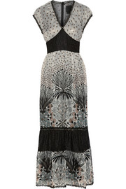 Printed lace-paneled silk-blend chiffon maxi dress