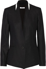 Leather-trimmed twill blazer