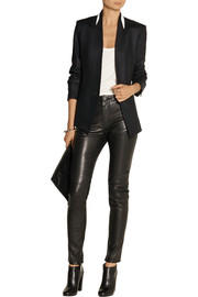 Helmut Lang Leather-trimmed twill blazer