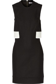 Cutout leather-trimmed stretch-gabardine dress